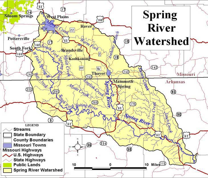 Spring River Watershed Map